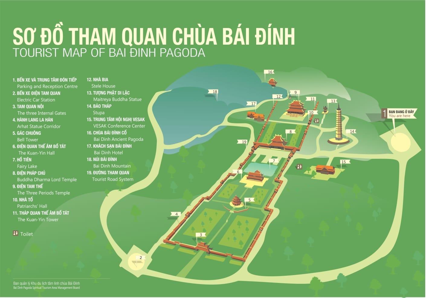 bai dinh pagoda maps - Ninh Binh
