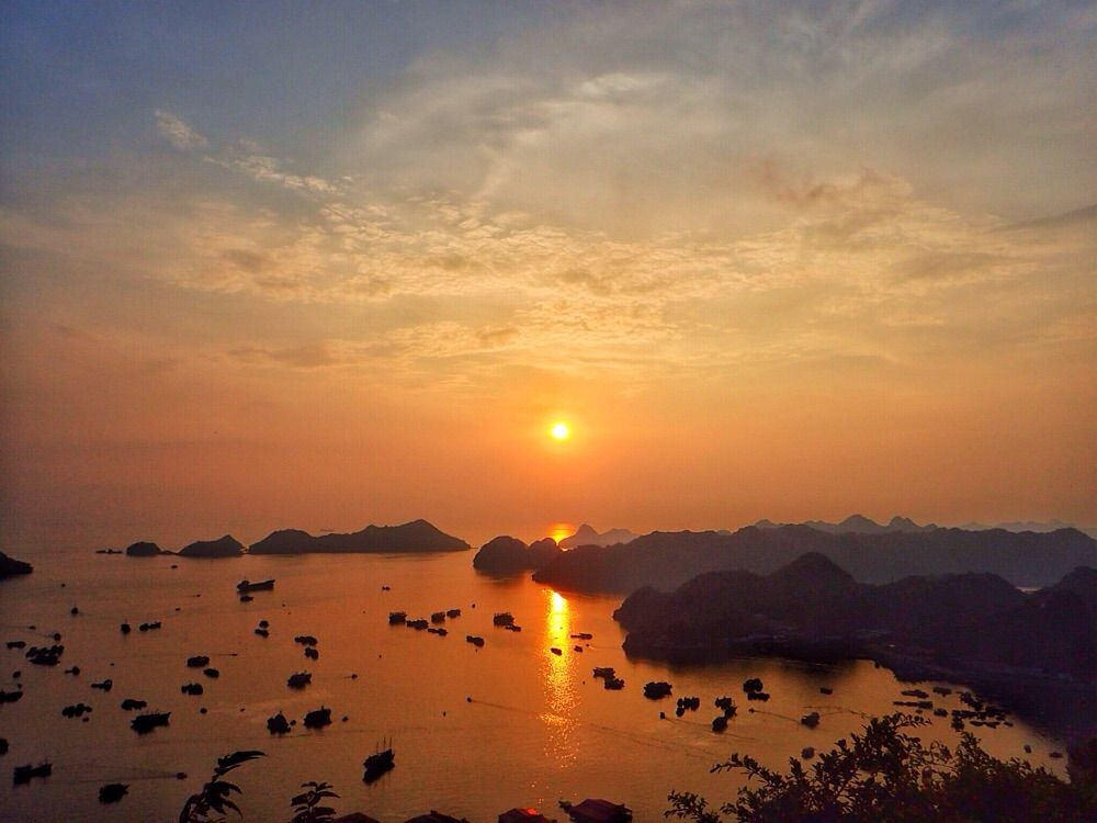 Sunset view from Fort Cannon - Cat Ba Island Vietnam